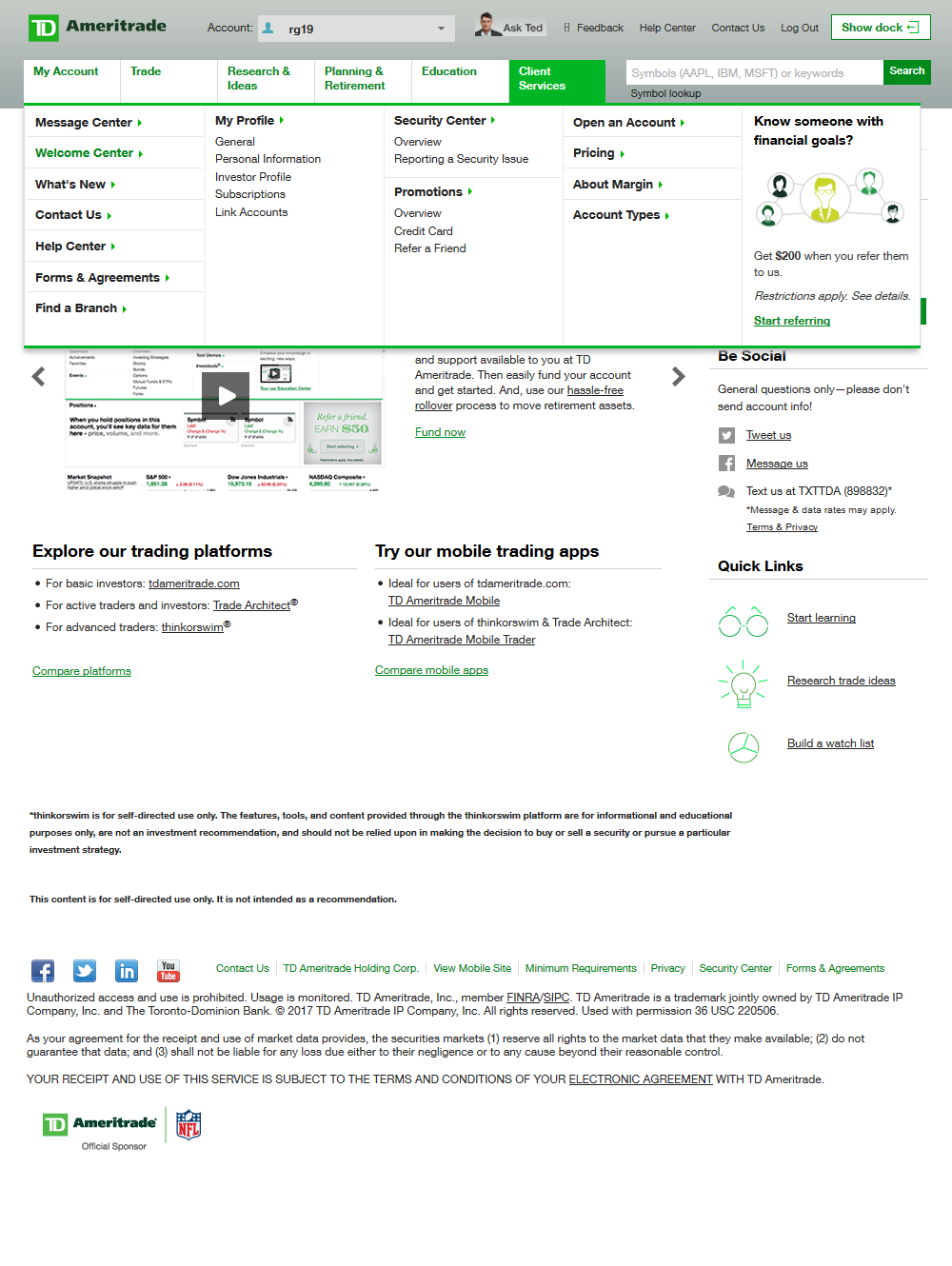 overview of client services and customer support on a TD Ameritrade brokerage account