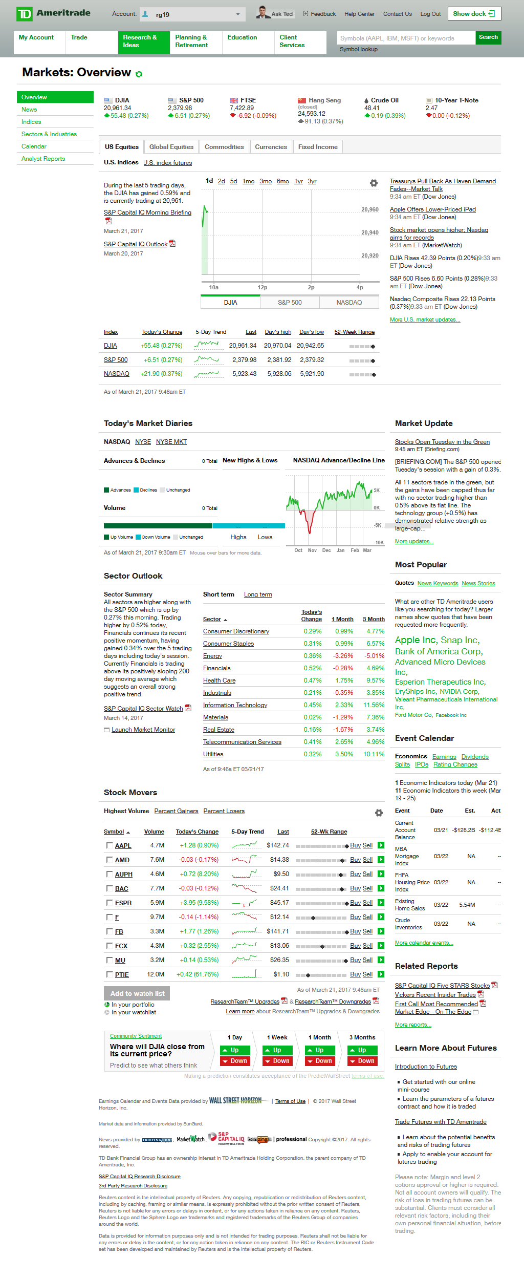 overview of U.S. Equities markets offered by a TD Ameritrade account