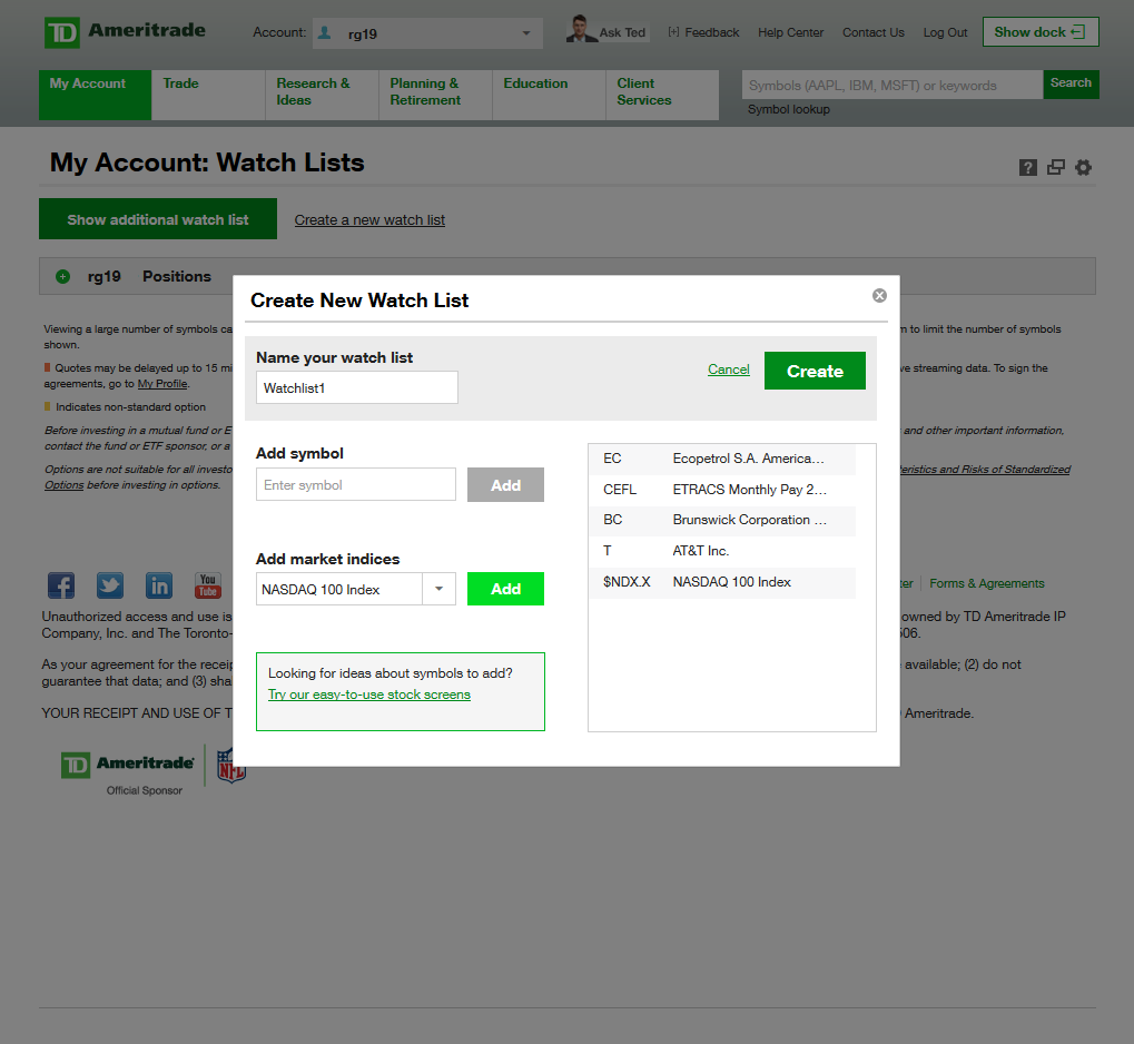 create a new stock watch list on a TD Ameritrade account