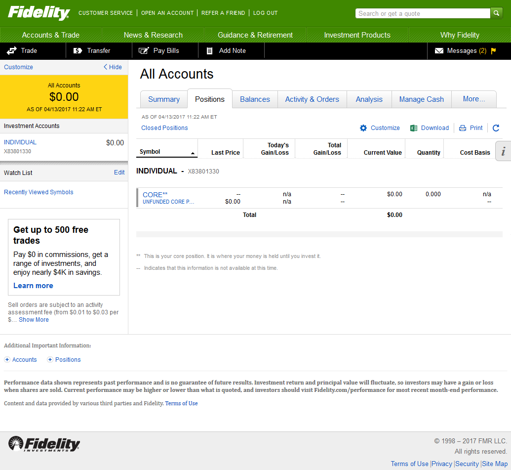 View Of Positions Summary On A Fidelity Brokerage Account