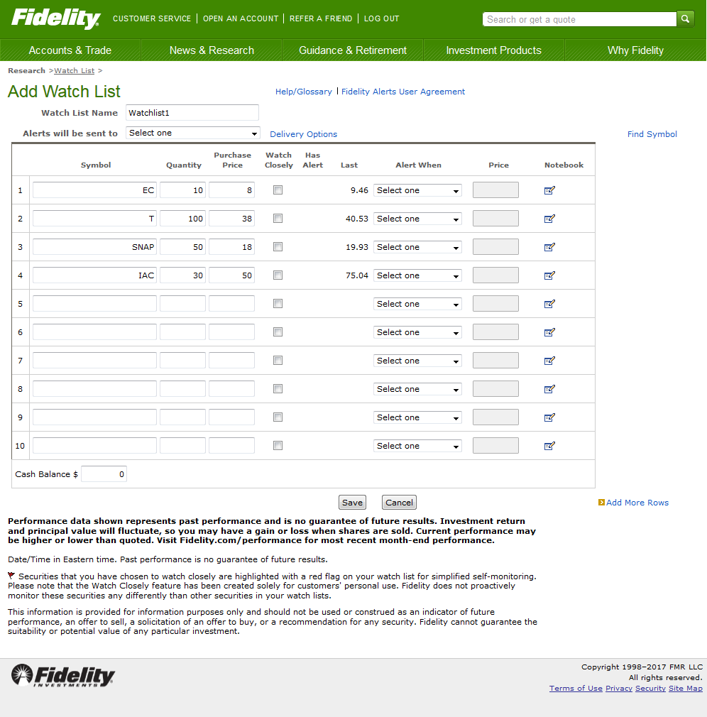 view of add watch list feature on a fidelity account
