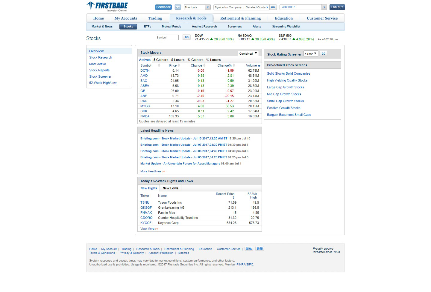 Click on the Stocks link to bring up an overview of equity market data and top stories.