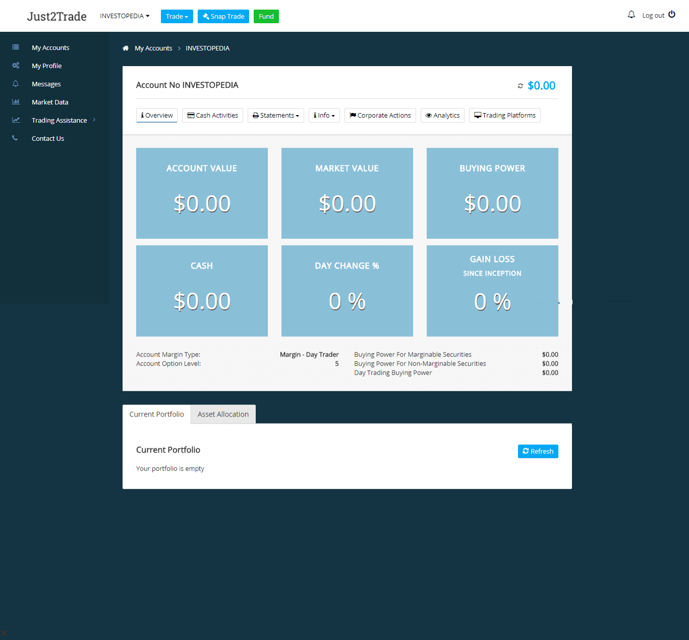 When you first log into Just2Trade's web site, you'll be brought to what it refers to as your Cabinet - which is simply your accounts dashboard. Along the left side is a vertical menu of user tools, and inside the main window there's a series of tabs arranged horizontally. On the Account Overview, you'll get a snapshot of your cash balances and account value along with the holdings in your portfolio.