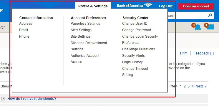 from contact information to account preferences to security center, all in one place to complete administrative tasks
