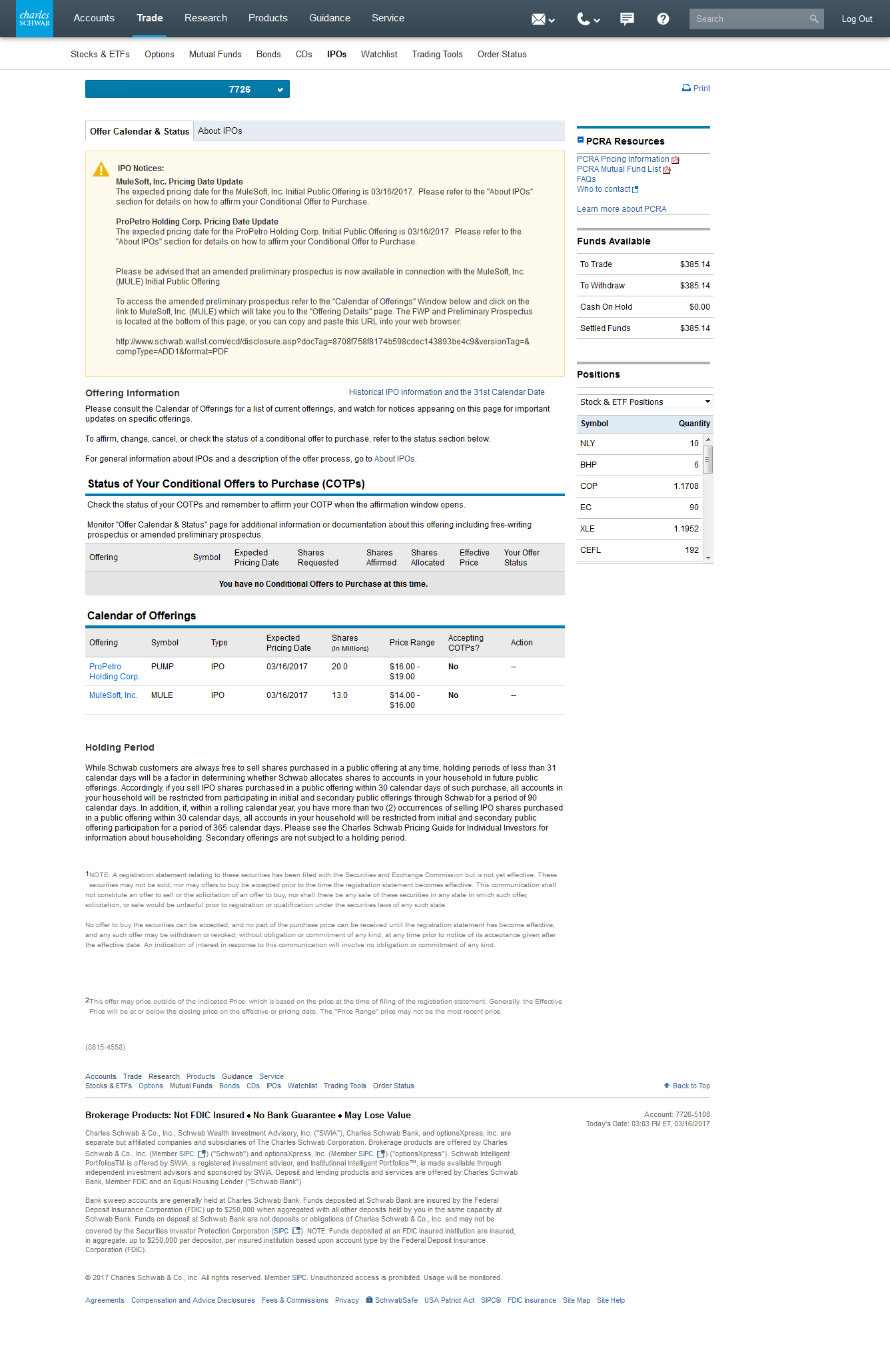 calendar of ipo offerings and preliminary prospectus on a schwab brokerage account