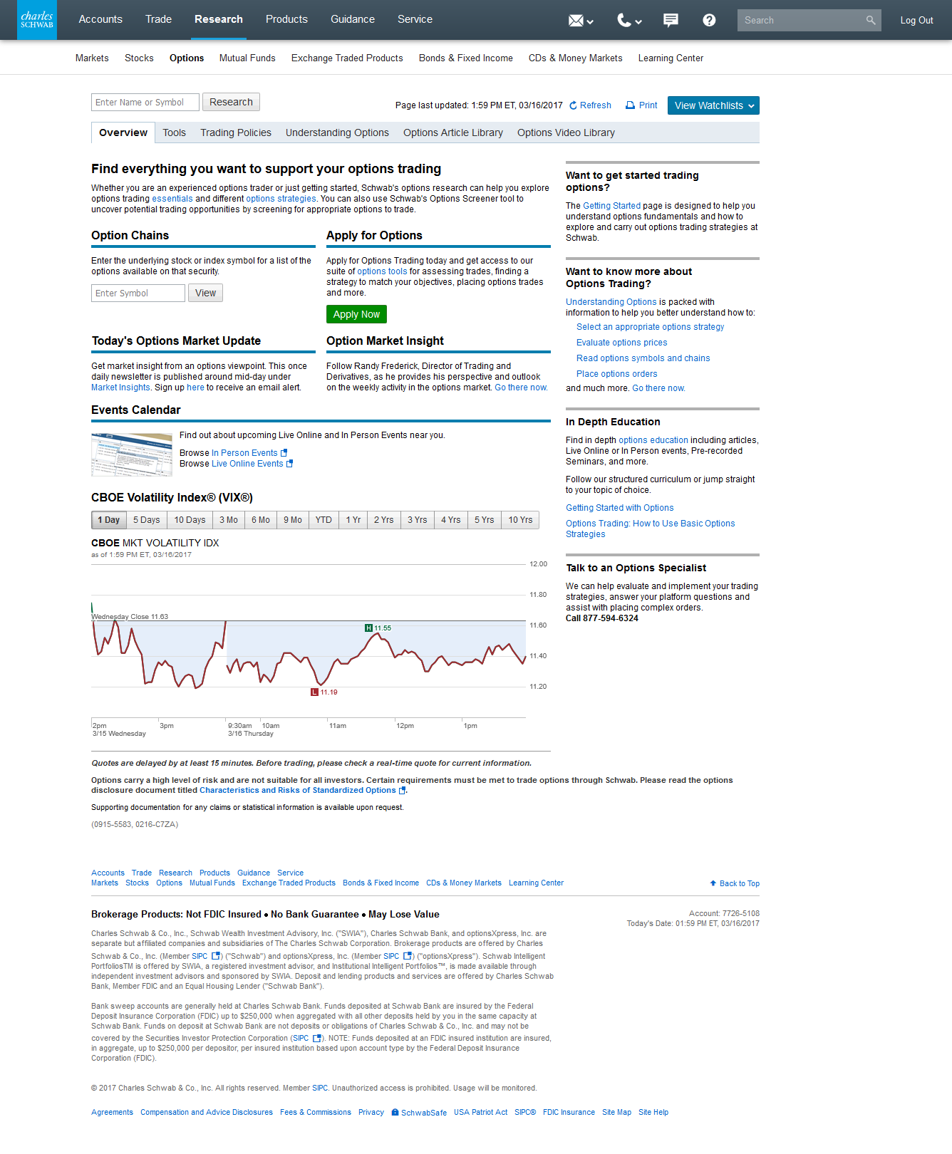 overview of resources available on a schwab brokerage account for learning about options