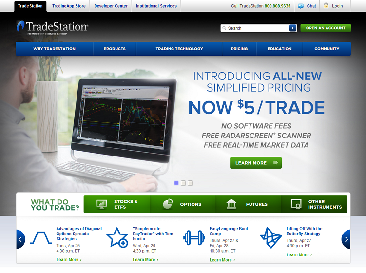 tradestation's welcome page