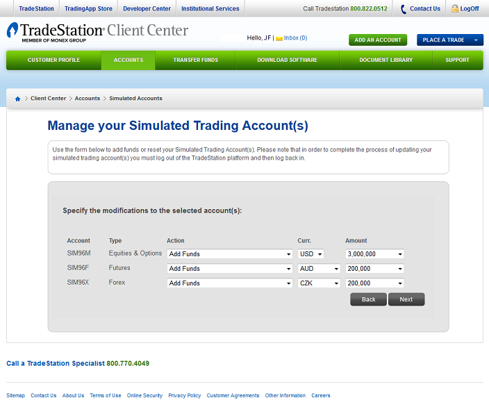 view of tradestation's account and funds management