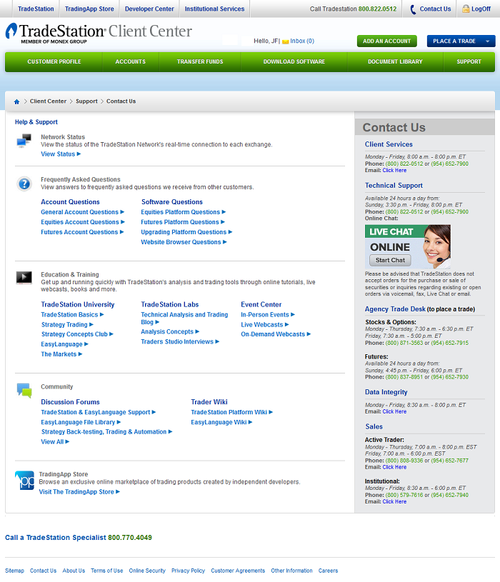 view of tradestation's support page