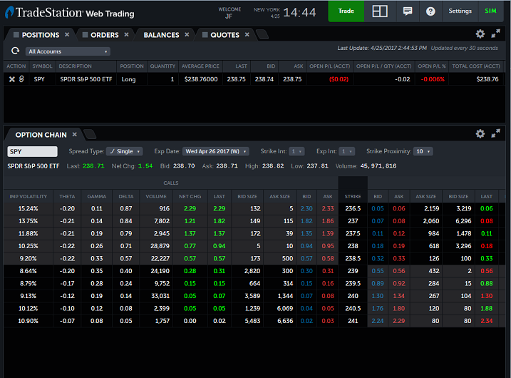 view of options chain quotes on a tradestation brokerage account