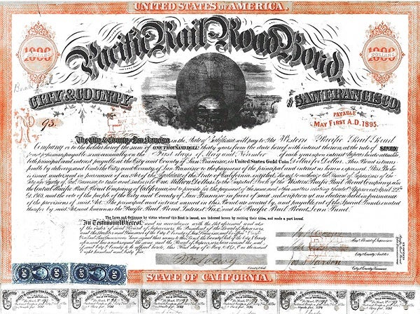 Pacific Railroad Bond issued by the City and County of San Francisco in 1863