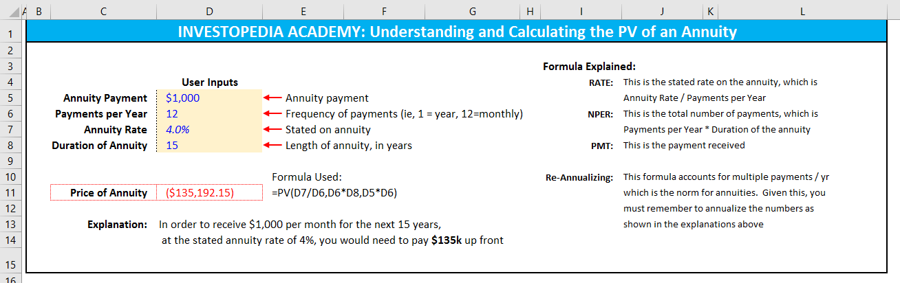 How do you calculate a present value of annuity using Excel ...