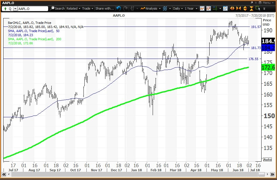 Daily technical chart showing the performance of Apple Inc. (AAPL) stock