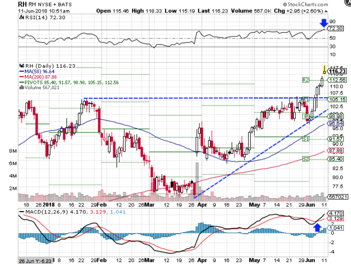 Technical chart showing the performance of Restoration Hardware Holdings Inc. (RH) stock