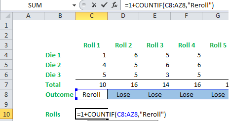 roll 2 dice simulation in excel
