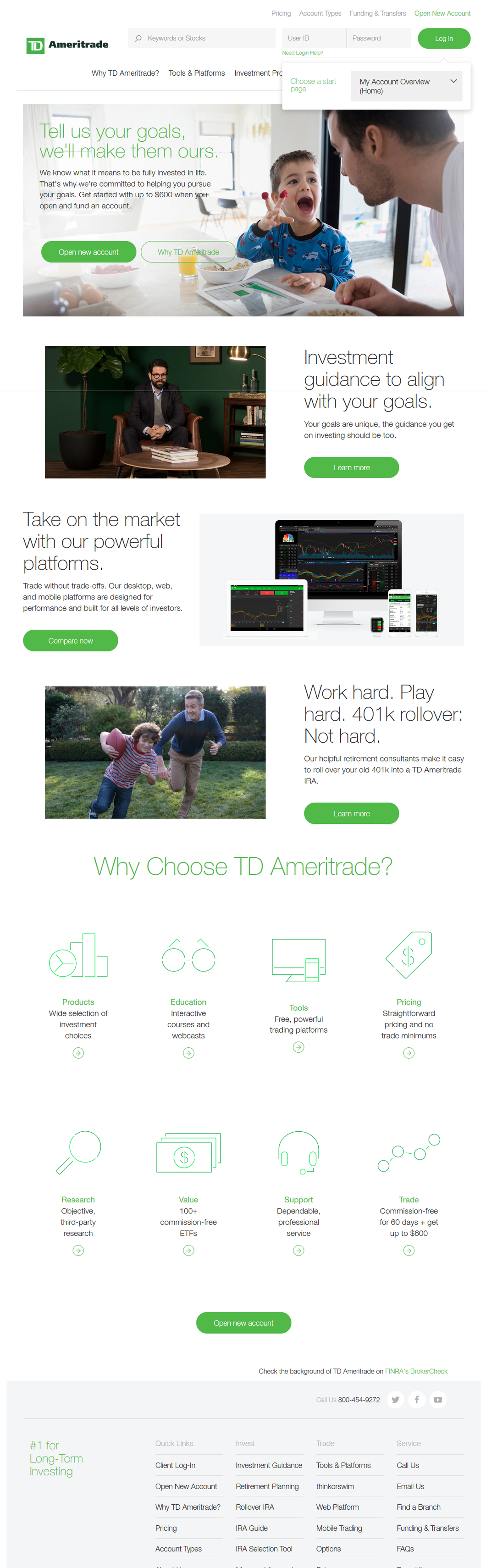 log-in page td ameritrade