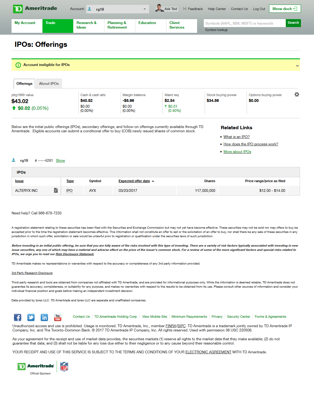 example of IPOs offering on a TD Ameritrade account