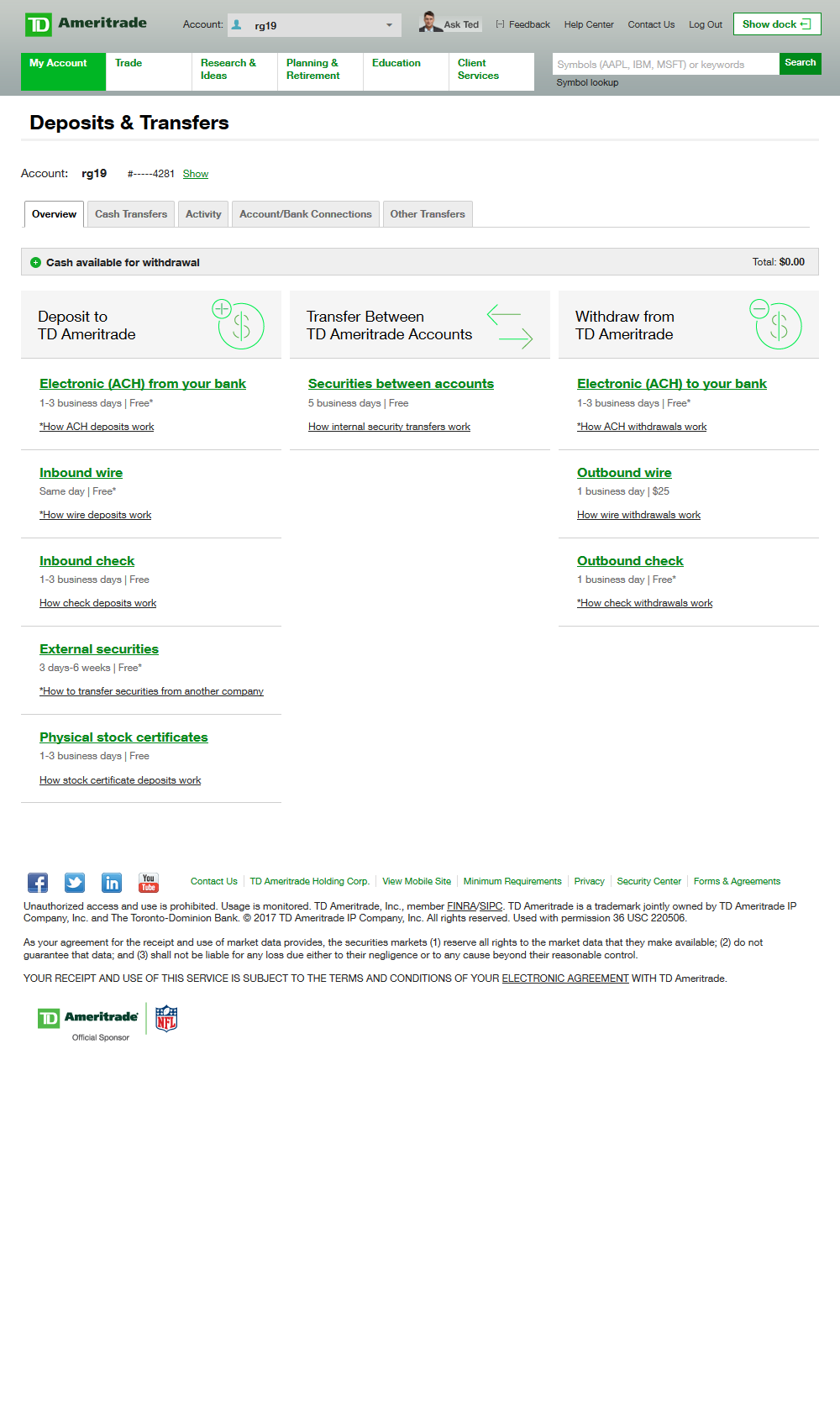 overview of how to transfer money to and from a TD Ameritrade brokerage account