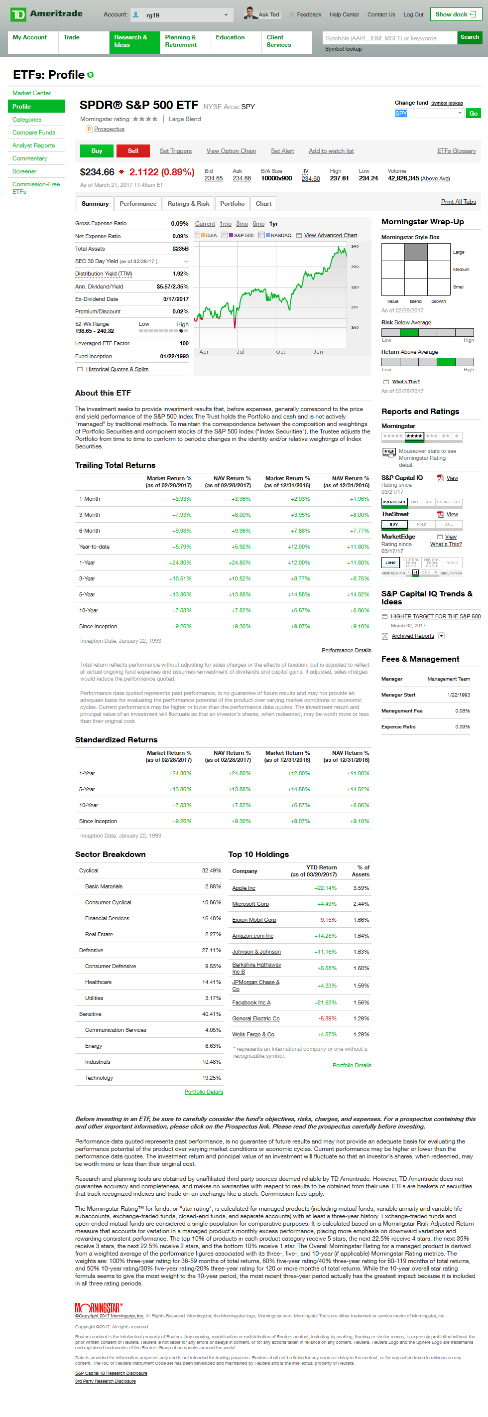 Td ameritrade platform walkthrough investopedia view of etf profile and summary on a td ameritrade account xflitez Gallery