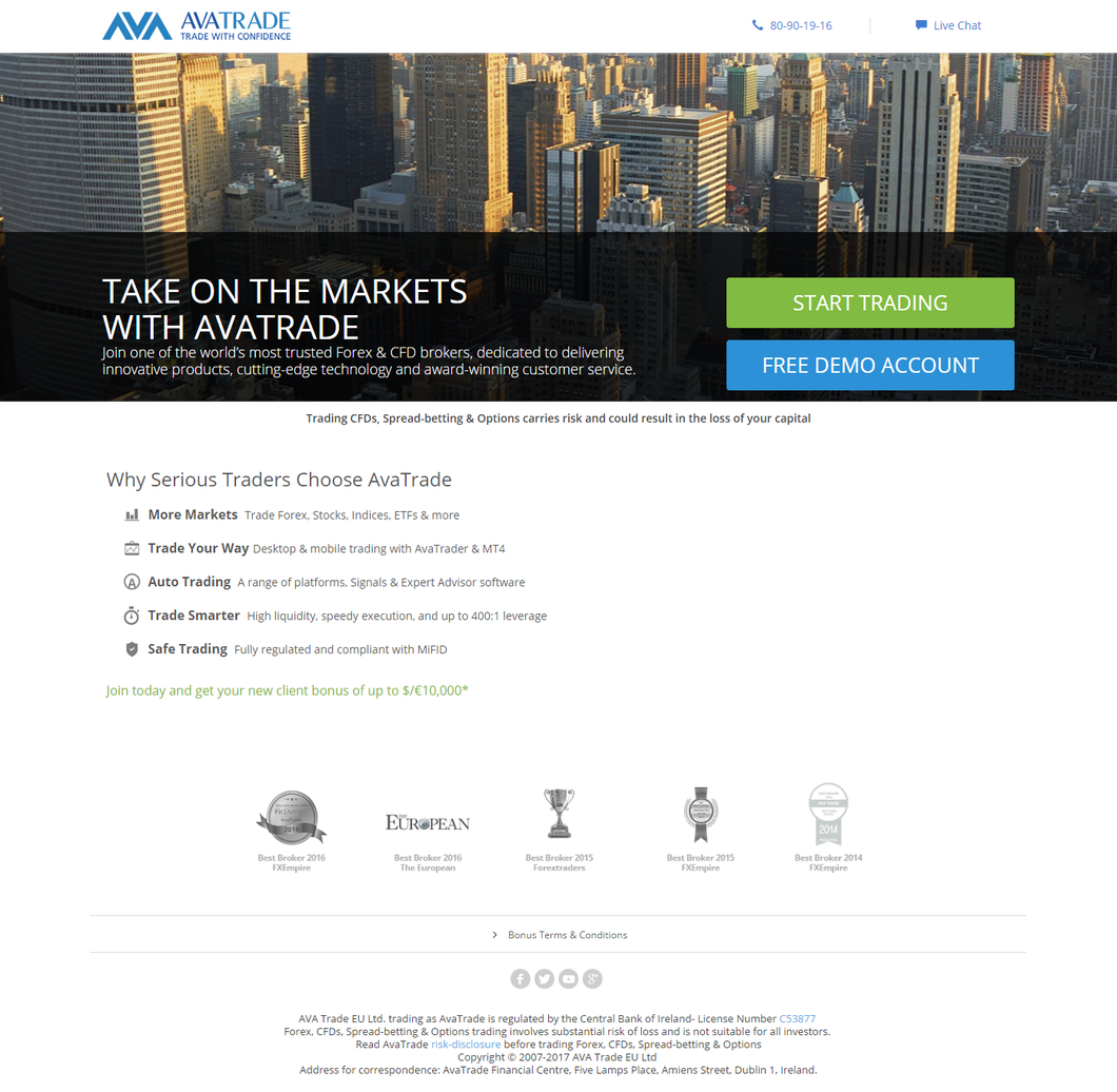 view of avatrade homepage