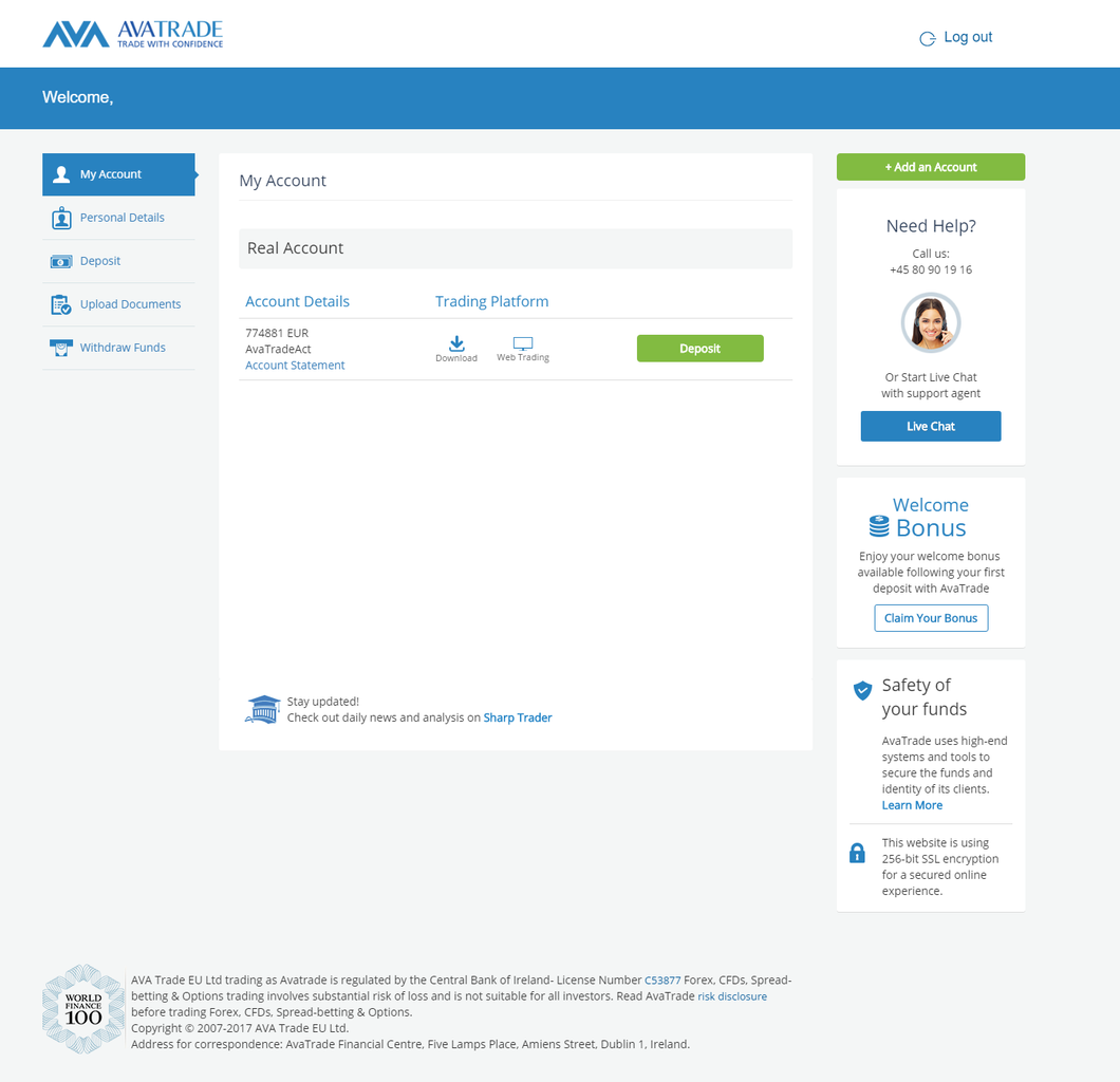 view of avatrade account management