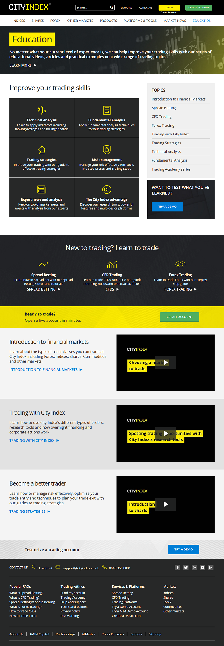 overview of education resources and tools available on a City Index brokerage account