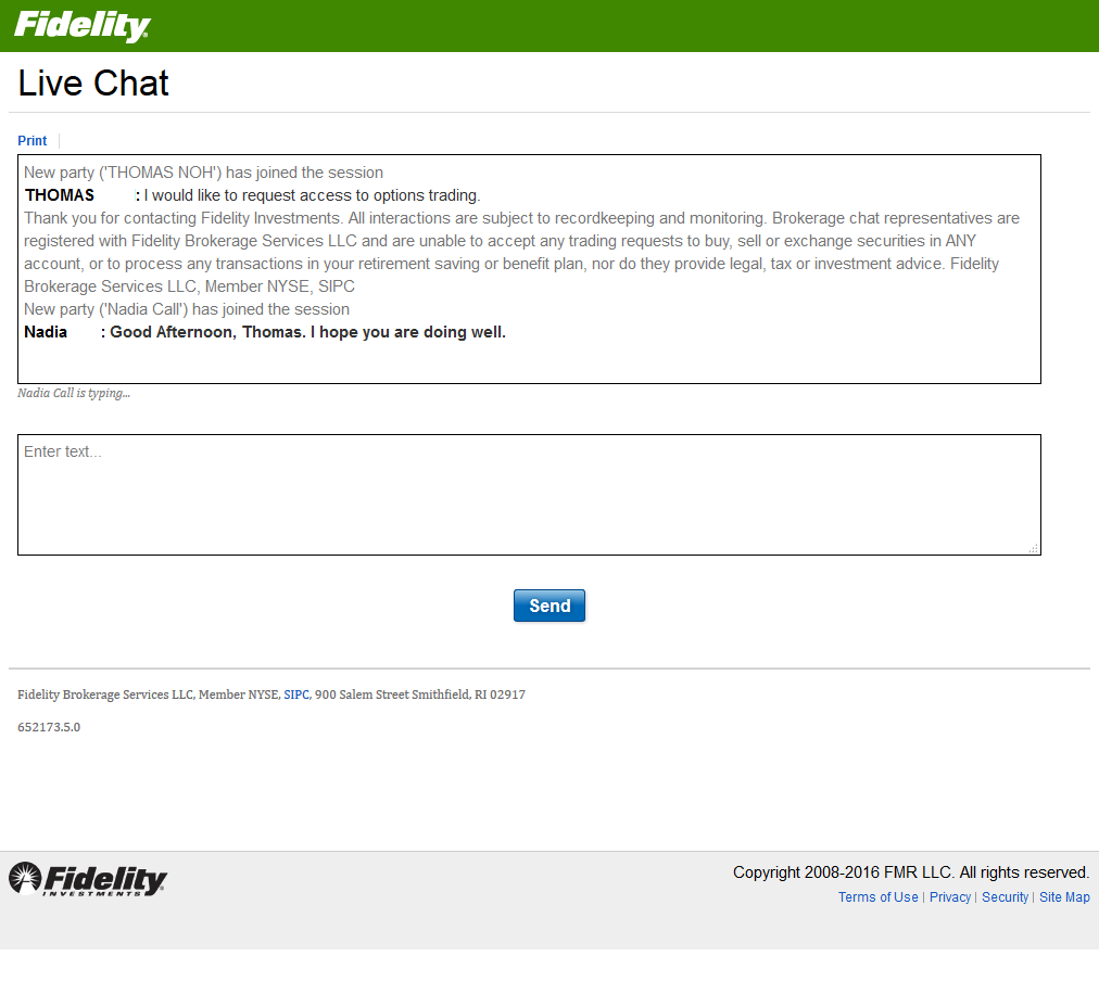 conversation with a Fidelity customer representative via online chat