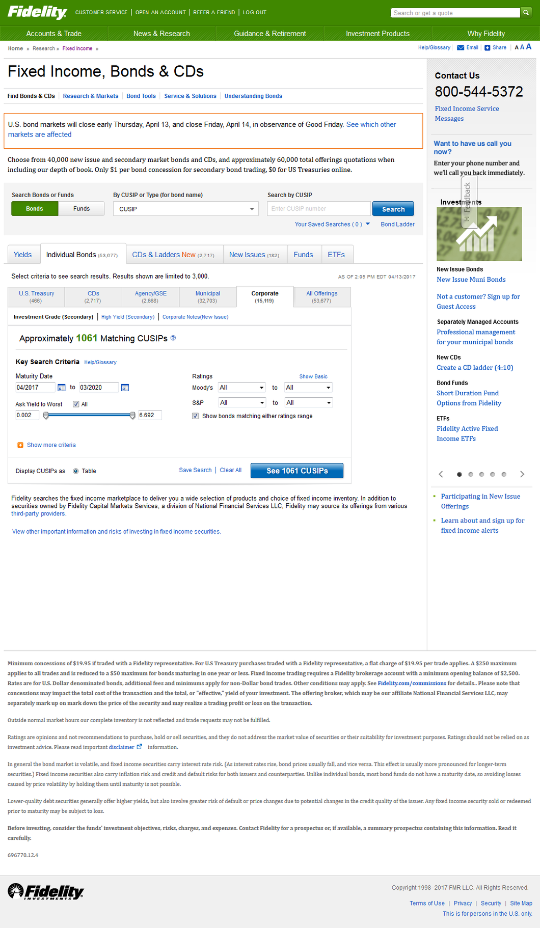view of searching fixed income, bonds, and CDs tool and feature on Fidelity
