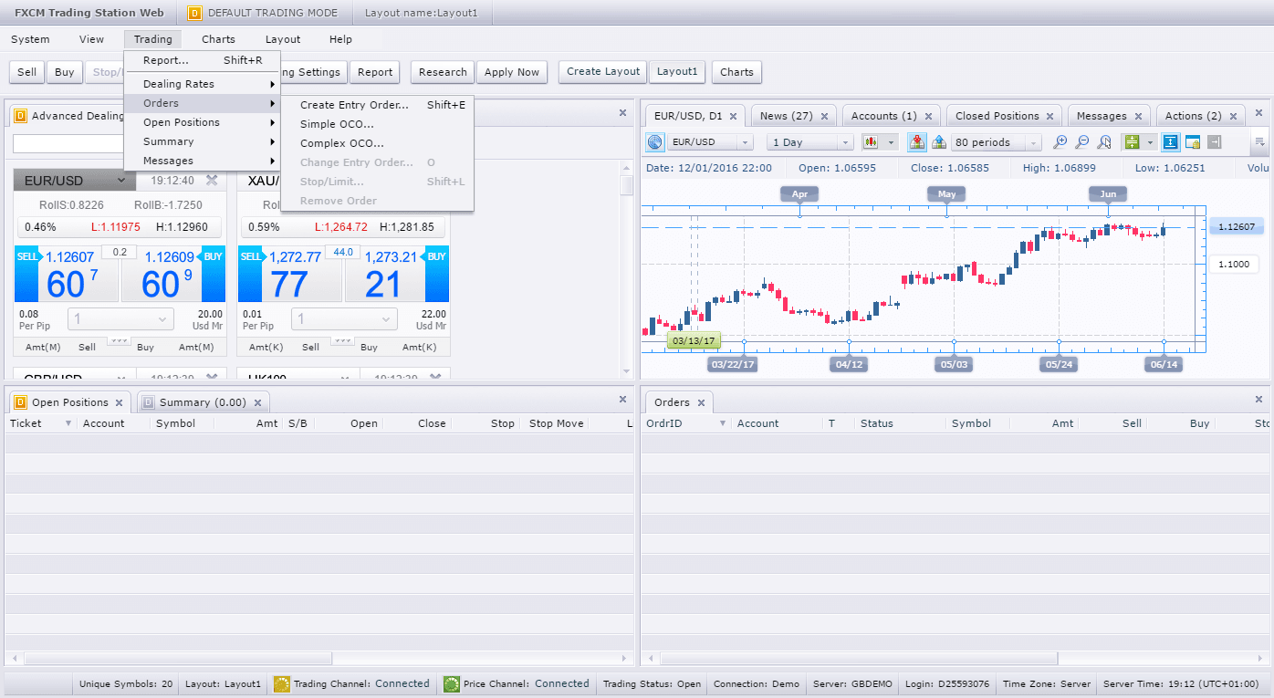 When you're ready to enter a trade, there are a few ways to go about it. One is to find the Trading dropdown menu and choose Orders, Create Entry Order, or use the keyboard shortcut Shift+E. You can also open order tickets by clicking on any asset price on the ticker screen, or directly from the charts. Alternatively, you can choose from among the buttons (Sell, Buy, Stop/Limit, etc.) that appear just below the menu bar.