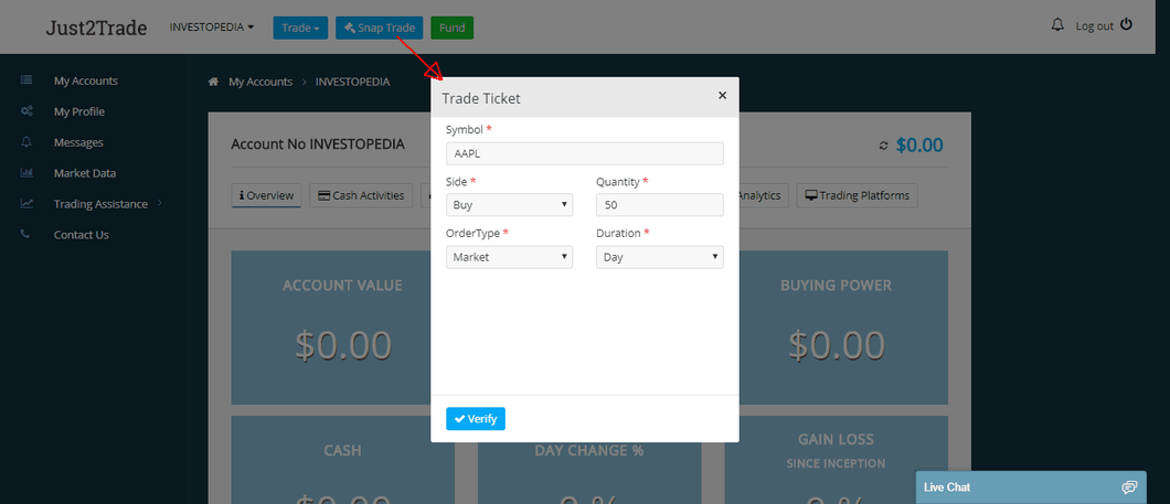 If you want to make a stock trade right away and not wait for the trading platform to load up, you can bring up a Snap Trade order ticket. Just click on the blue button on the top of the Cabinet page, input the order details, verify the info, and send it to the market.