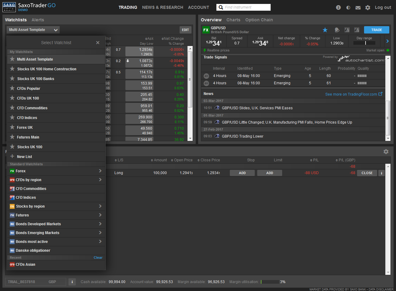 view of tools to create and manage watch lists on a Saxo brokerage account