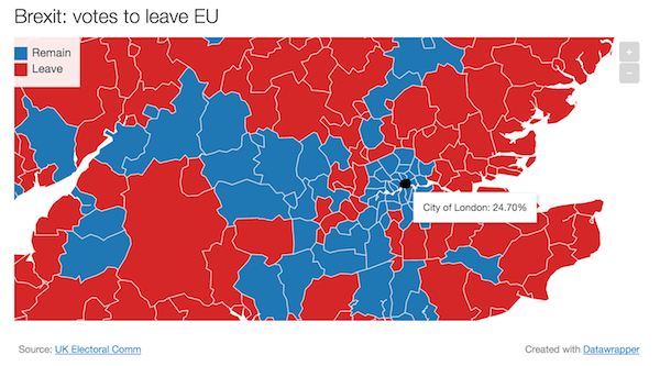 fewer than a quarter of city of london voters chose leave see full map