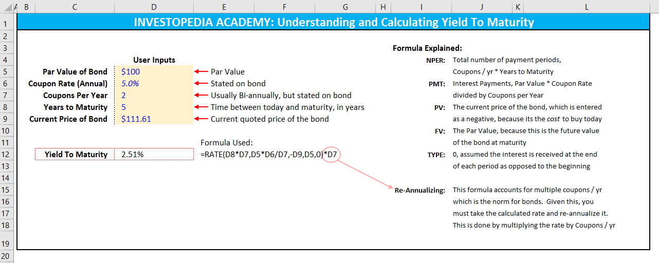 Formula for yield to maturity