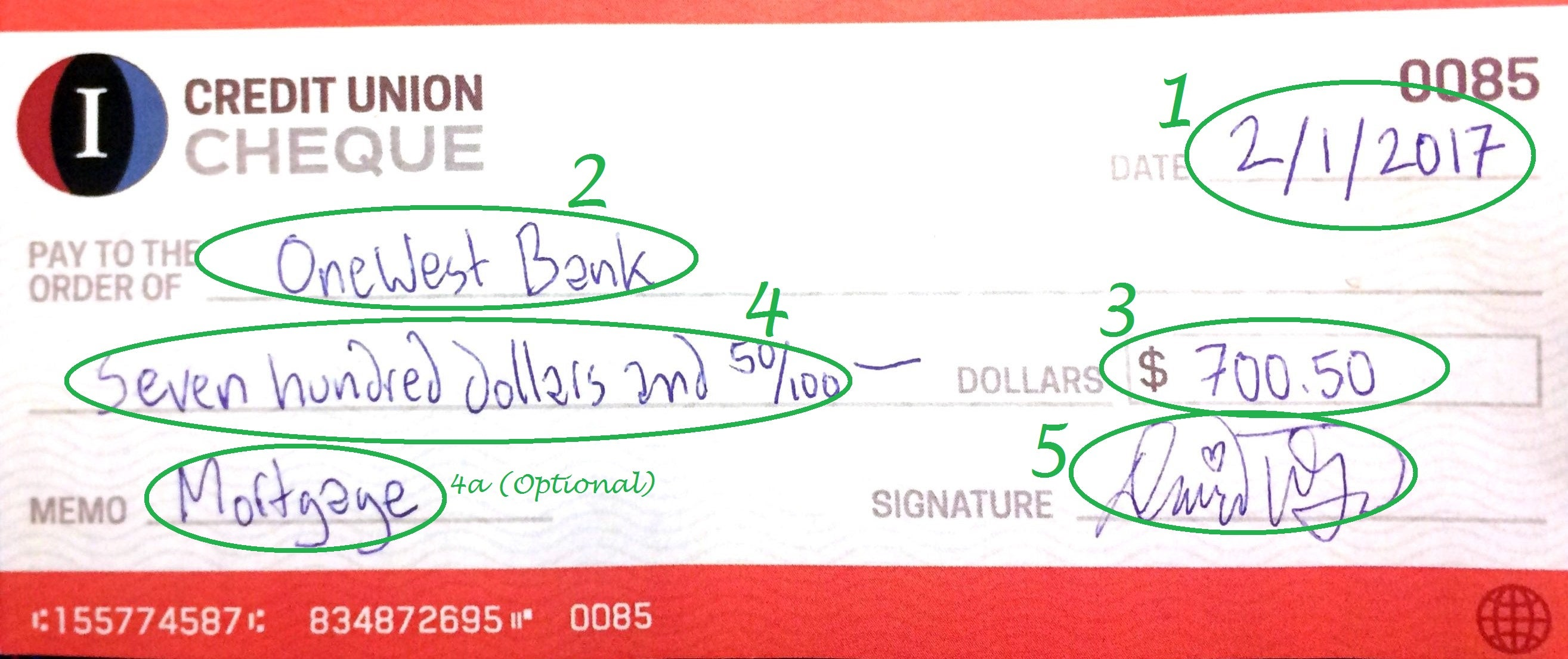 Example of how to write a check with the Date, Recipient, Amount, and Signature Completed