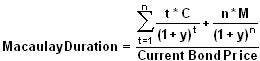 Formula for calculating the Macaulay duration.
