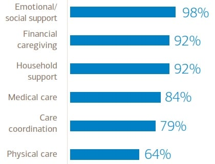 Table showing the percentage of caregivers in each category of help or support