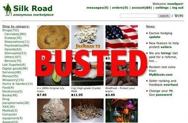Screenshot of the now shut down Silk road black marketplace.