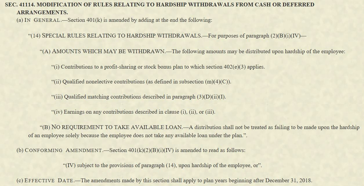 Additional excerpt from legislation defining a hardship withdrawal with regards to cash or deferred arrangements