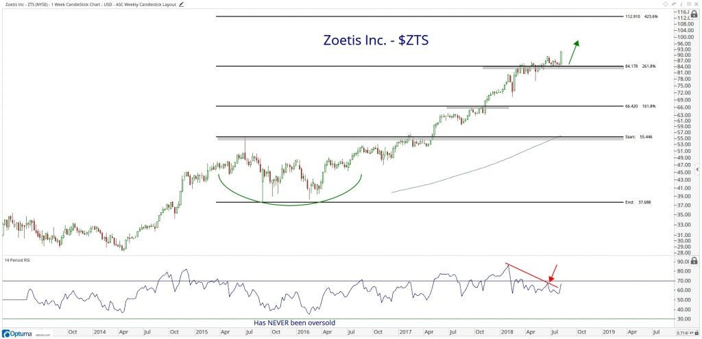 Technical chart showing the performance of Zoetis Inc. (ZTS) stock