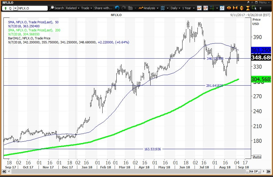 Daily technical chart showing the performance of Netflix, Inc. (NFLX) stock