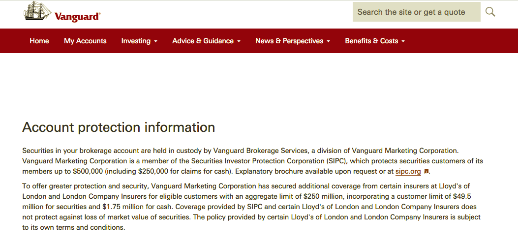 image with Vanguard's account protection terms
