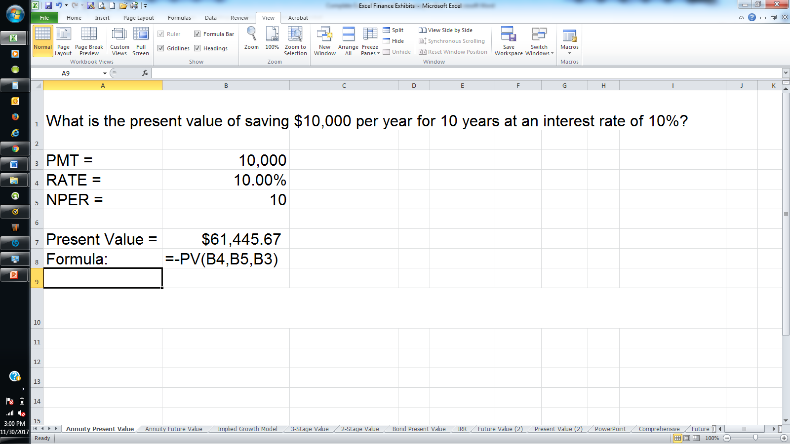 calculate annuities using excel