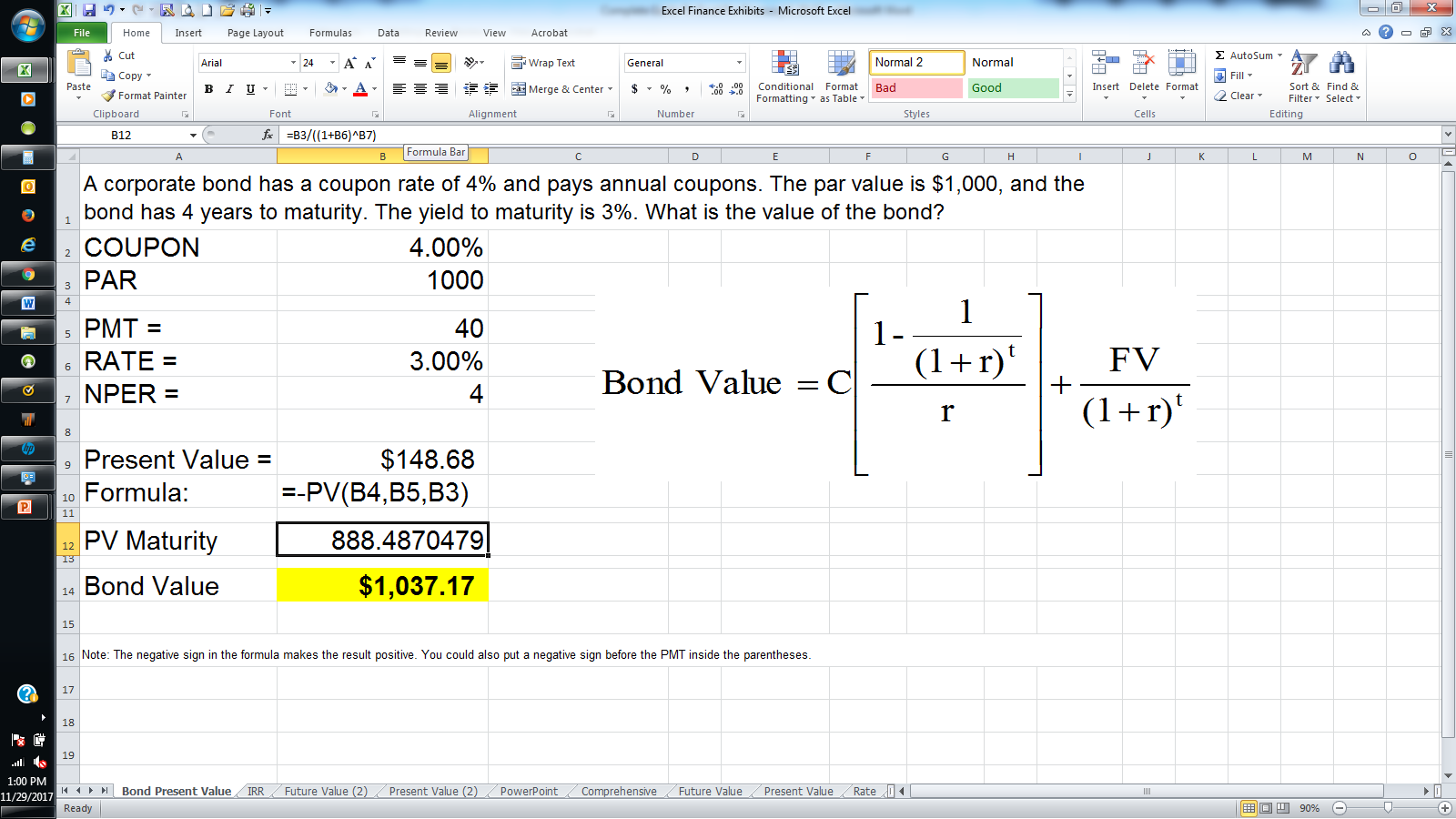 Valuation methods in excel additionally the price function returns the estimated market value of a bond with a 100 face value below are the details of the metrics needed to value alramifo Image collections