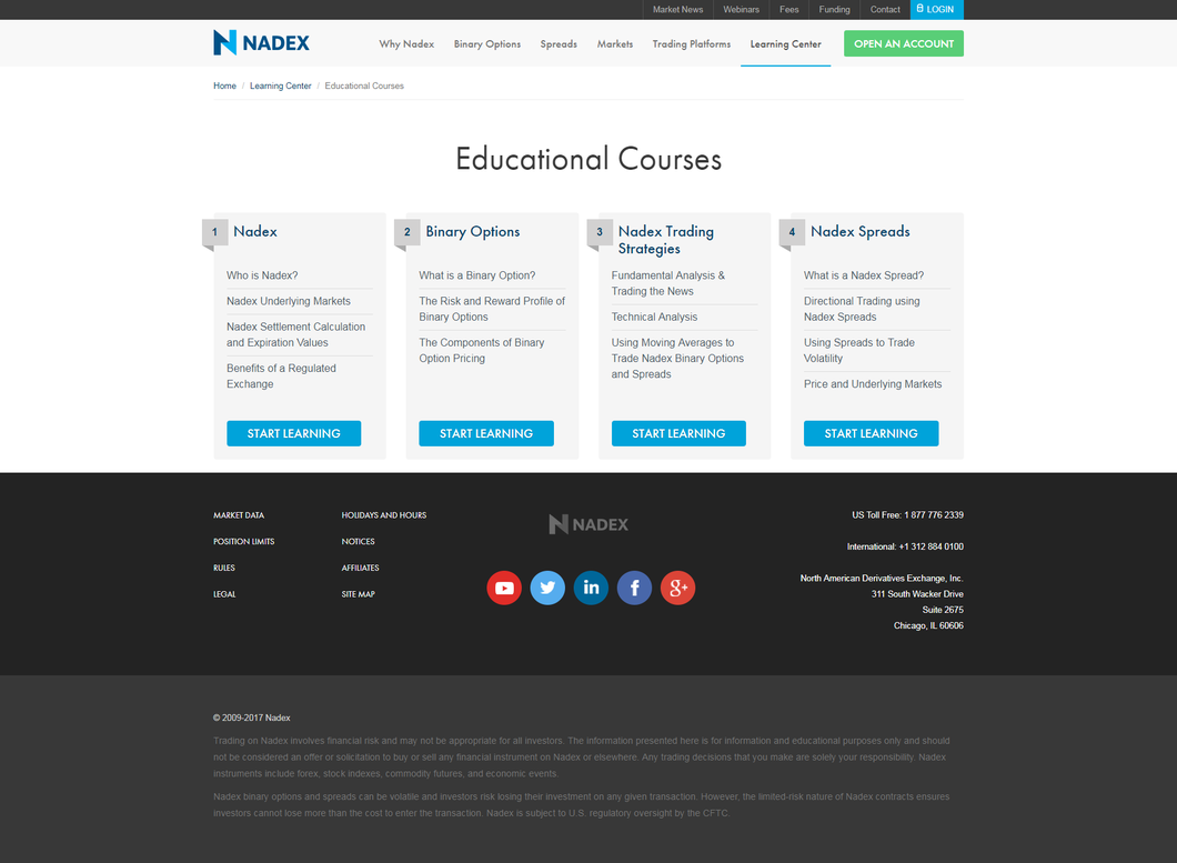 Nadex has a host of educational resources in its Learning Center, which is based on the company's main website. If you're new to the world of buying and selling binaries, for example, there are introductory courses that will help you get up to speed.