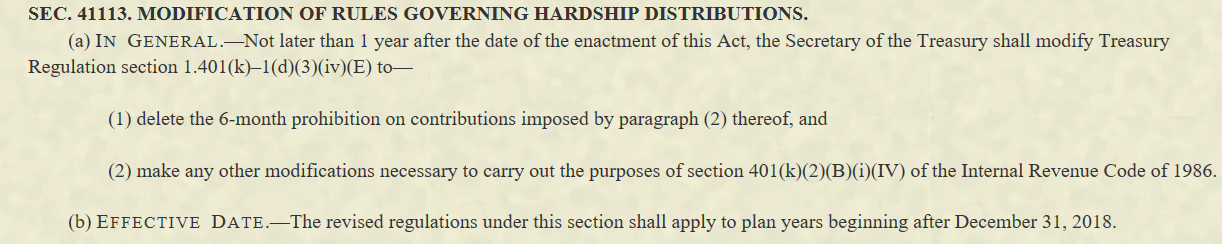 Excerpt from U.S. legislation describing a hardship withdrawal