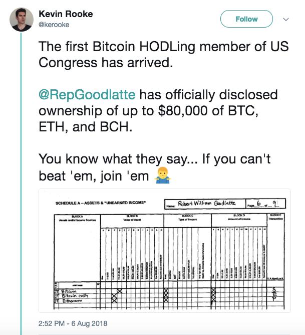 众议员Bob Goodlatte成为国会第一位比特币HODLer
