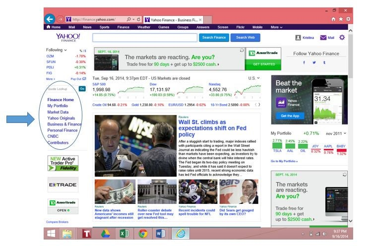 yahoo finance screenshot