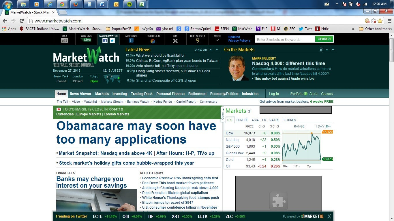 Marketwatch home page screenshot