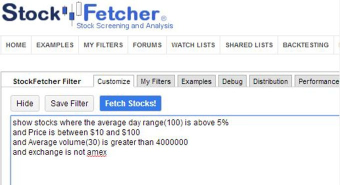 stockfetcher screen shot