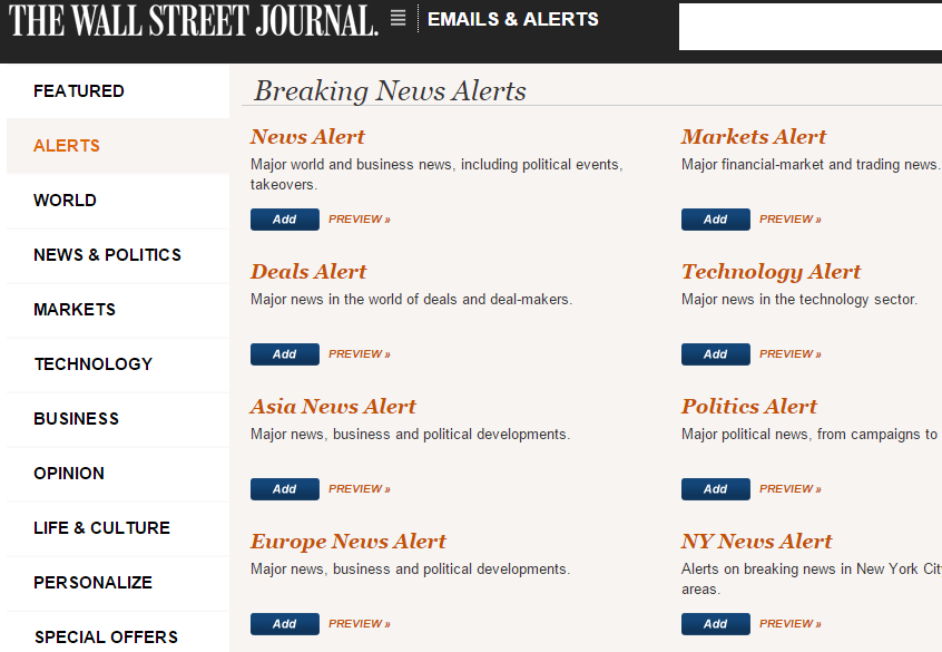 wsj search page